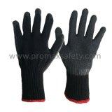 10 перчаток датчика черных связанных Tc при черная покрынная ладонь латекса Crinkle