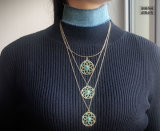 (5 cores) 2017 colares azuis do Choker de Jean da sarja de Nimes do projeto na moda com os pendentes Multilayer das colares da flor oca acrílica