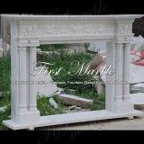 Bello camino bianco di Carrara per la decorazione domestica Mfp-430