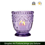 Glass Candle Holder with Dotted Decor for Tealight Candle