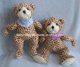 Urso da peluche do luxuoso com material da impressão de cor do leopardo