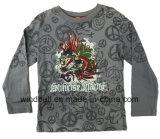 Maglietta del cotone stampata reticolo del drago per il ragazzo con la lavata della scimmia