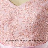 Brautjunfer eine Zeile Schutzkappen-Hülsen-langes Spitze-Hochzeitsfest-Kleid