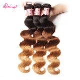 Pacotes malaios do cabelo da onda do corpo do cabelo de Remy da cor de Ombre