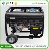 6kVAは車輪が付いているタイプ携帯用Air-Cooledディーゼル発電機を開く