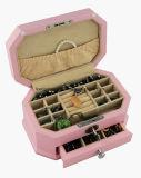 Boîte-cadeau en bois de mémoire de bijou de fini rose de Matt