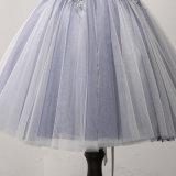 De blauwe Kleding van de Cocktail van de Toga van Prom van de Kralenversiering Applique