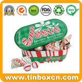 クリスマスの楕円形の形のパッキングキャンデーのギフトのための甘い錫ボックス