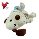 Do cão branco de 10 meninas do luxuoso da polegada brinquedo animal com fita
