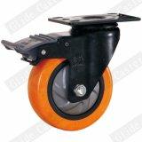 Mittleres Aufgabe PU-Gewinde Strm Fußrollen-Rad (orange) (einzelne Peilung) (G3216E)