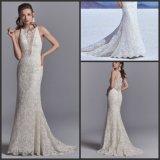 Mangas com vestido de noiva Sereia Lace Suite vestido de casamento Wd157