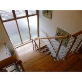 Country House escalier Balustrade en acier inoxydable avec du bois de la main courante