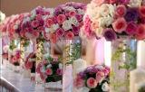 Florero de acrílico de la boda del cilindro para la pieza central del banquete