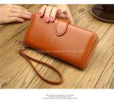 Fashion Style long de l'embrayage cireux sac sac à main en cuir Mesdames PU avec 12 emplacements de carte 2 fenêtre un sac à fermeture éclair