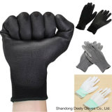 Capa negra de la palma de la PU en guantes negros de la seguridad del trazador de líneas