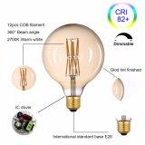 Stoele G125 (G40) 포도 수확 Edison LED 전구 Dimmable 120V 6W (60W 동등물) 600 루멘 - 2700K (온난한 백색) - 금 담채 완료