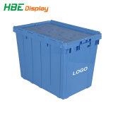 Caixa de armazenamento de plástico empilháveis recipiente com tampa articulada