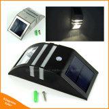Indicatore luminoso solare solare di via LED della lampada da parete del sensore d'argento esterno del nero PIR