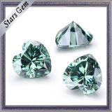 녹색 7*7mm 심혼 모양 느슨한 Moissanite 다이아몬드