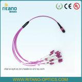 MPO (LL) - cabos de correção de programa cor-de-rosa de fibra óptica do cabo do LC mini para o conjunto de cabo da fuga
