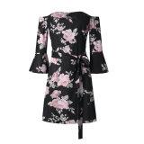 Neue Sprung-Form gedruckte WegSchulter Frauen-Blumenkleider