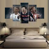 Taza de mundo Barcelona Atletico Madrid cuadro moderno de la lona de arte de la pared del balompié del marco de la pintura de 5 pedazos para la decoración del hogar de la sala de estar