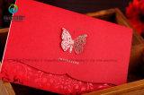 Vermelho exclusivo caseiras personalizados Convite cartões de engate de casamento com Butterfly