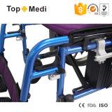 Presidenza di rotella elettrica pieghevole di alluminio leggera della strumentazione dell'ospedale con il regolatore della pagina