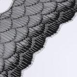 Tessuto smerlato del merletto del ciglio del testo fisso del nastro del nero di disegno