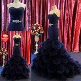 Mit Rüschen besetztes Schatz-Kristalltaillen-Nixe-langes Marine-Blau-Abend-Kleid