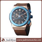 Form-lederne Armbanduhr, Männer imprägniern Uhr, Edelstahl-Uhr