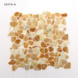 Mosaico de cristal del color del efecto de la piedra de la playa del azulejo del arte para la pared del cuarto de baño