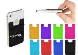 A impressão de logotipo 3m de silicone flexível carteira de cartão de crédito cartão de identificação do titular do cartão de banco de silicone de bolso para telemóvel