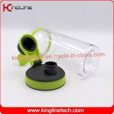Botella de encargo de la coctelera de la proteína de la insignia 600ml con el mezclador plástico (KL-7035)