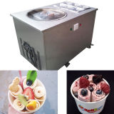 2개의 스테인리스 팬은 판매를 위한 아이스크림 기계를 튀겼다