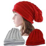 Леди мода Racoon мех акриловый трикотажные зимний теплый Red Hat (YKY3122)