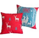 Tampa do coxim do Natal com árvore e cervos de Natal
