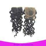 Haar-zusätzliches Qualitäts-indisches Haar-Spitze-Schliessen-italienisches wellenförmiges Jungfrau-Haar