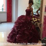 Платье E1789 выпускного вечера Organza сборок мантий шарика Quinceanera шнурка вина