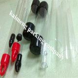 Hecho en tubos de embalaje de China Food Grade Borrar regalo PP de plástico para el caramelo con los casquillos negros