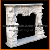 Mensola del camino di marmo bianca del camino con l'angelo Mf1714