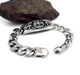 De zilveren Zwarte Roestvrije Armbanden van identiteitskaart van de Mannen & van de Vrouwen van de Juwelen van het Lichaam