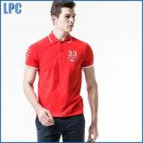 Красная короткая рубашка пола хлопка шеи черепахи втулки фабрикой Китая