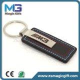 Chaveiro de metal de couro personalizado de alta qualidade com anel de chave duplo