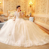 Écope cou Appliques Half-Sleeve dentelle robe de bal robe de mariage (Dream-100050)