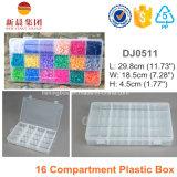 Boîte en plastique claire de 16 compartiments