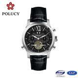 Hot Sale White Genuine Leather Mens Esqueleto Watch