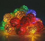 Света шнура хлопка СИД шариков ротанга СИД Multicolor для напольных светов шнура