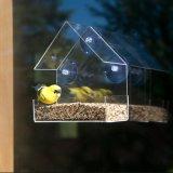 Alimentatore acrilico dell'uccello del triangolo di alta qualità della radura su ordinazione della finestra