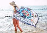 Coton estampé autour de l'essuie-main de plage de cercle avec la qualité